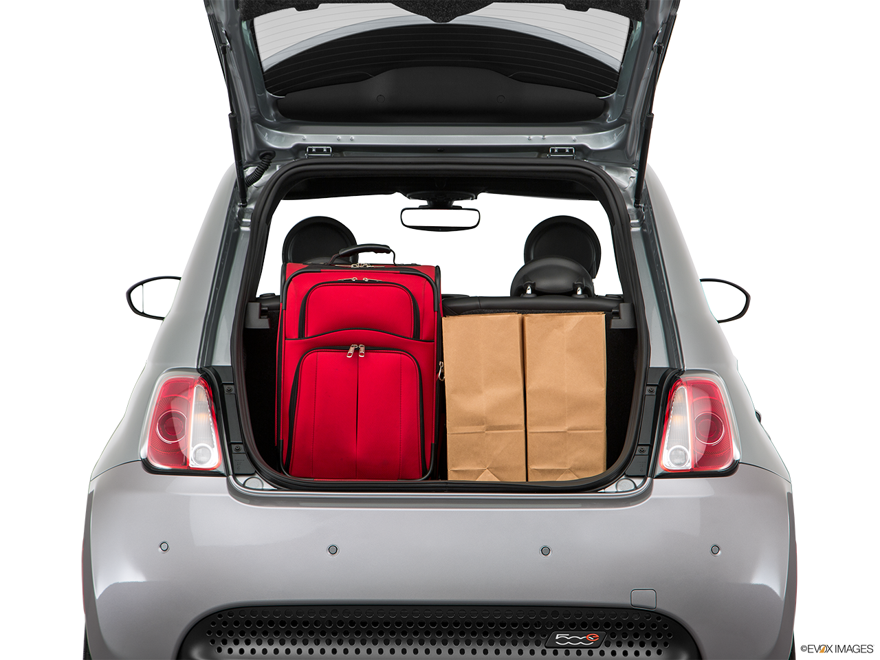 Trunk view of the Fiat 500e