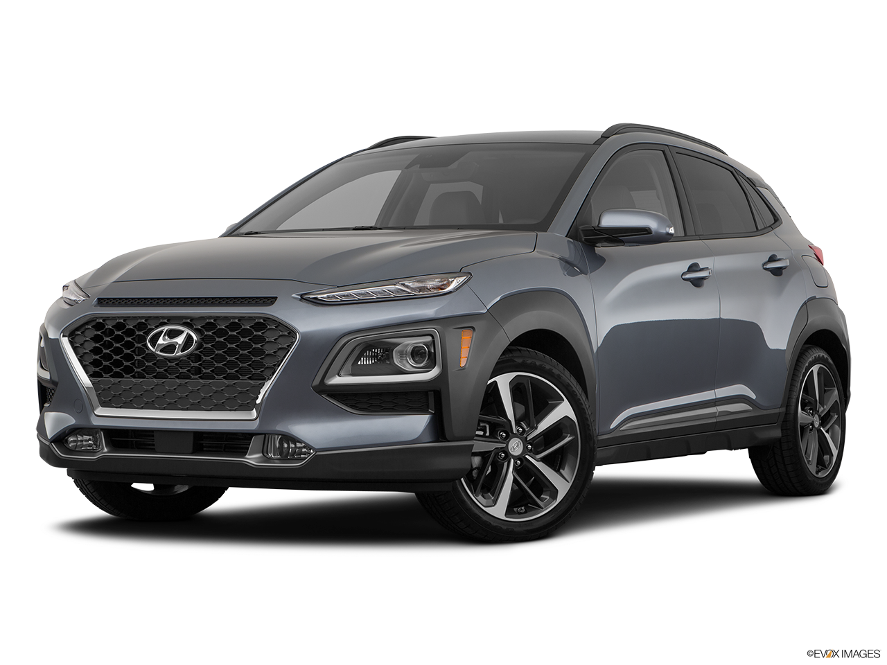 Three quart view of the Hyundai Kona Electric