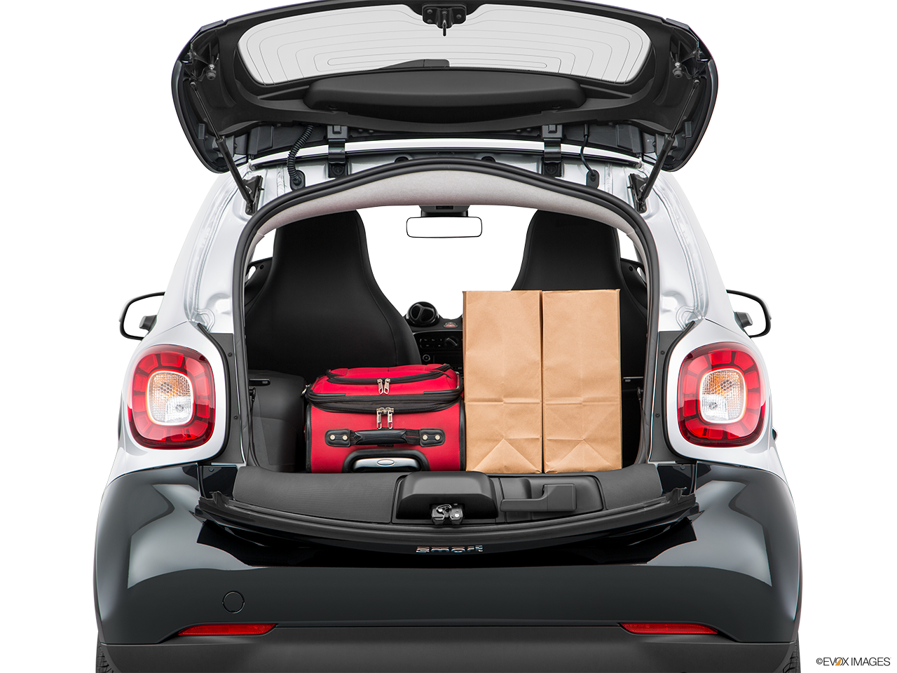 Trunk view of the Smart fortwo electric