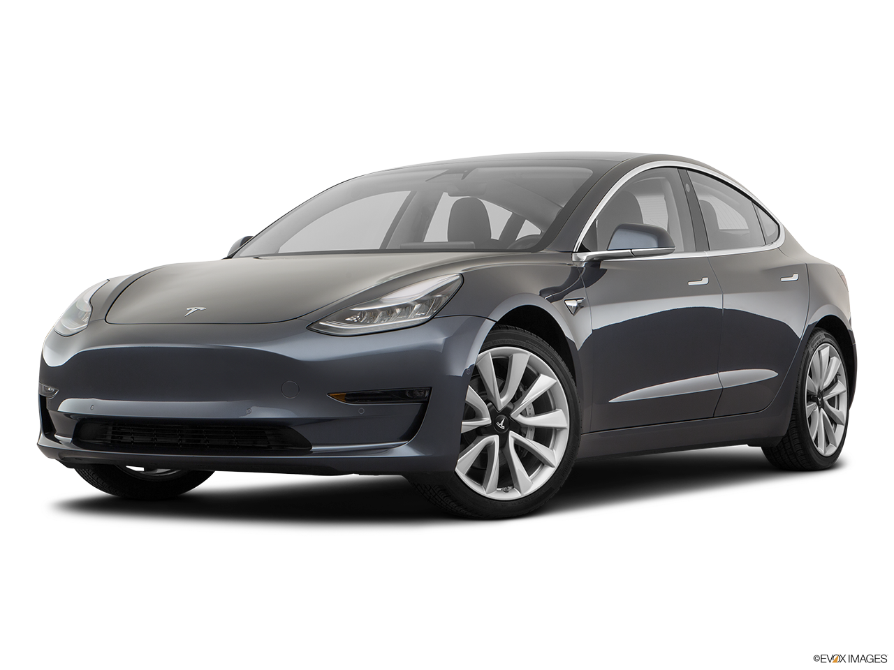 Three quart view of the Tesla Model 3